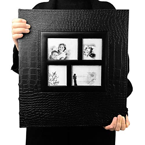 RECUTMS Photo Album 600 Pockets,Sewn Bonded Black Leather Book Pockets Hardcover Photo Frame 4x6 Photos Wedding Gift Valentines Day Present