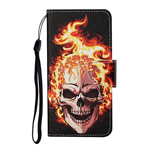 iPhone 12 Pro Max Case, Shockproof Premium PU Leather Shock-Absorption Notebook Wallet Phone Cases with Magnetic Kickstand Card Holders Bumper Flip Protective Cover for iPhone 12 Pro Max Flame skull