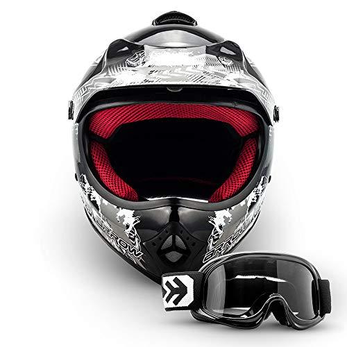 ARMOR Helmets AKC-49 Kinder-Cross-Helm, DOT Schnellverschluss Tasche, XS (51-52cm), Schwarz