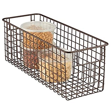 mDesign Household Wire Food Storage Organizer Bin Basket with Built-In Handles, Grid Design - for Kitchen Cabinets, Pantry, Closets or Bedrooms, Bathrooms - 16  x 6  x 6 , Bronze