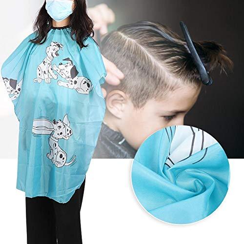 Tablier de coiffure pour enfants de dessin animé, robe bleue réglable Cape enfants coupe de cheveux Cape coiffeur tablier avec