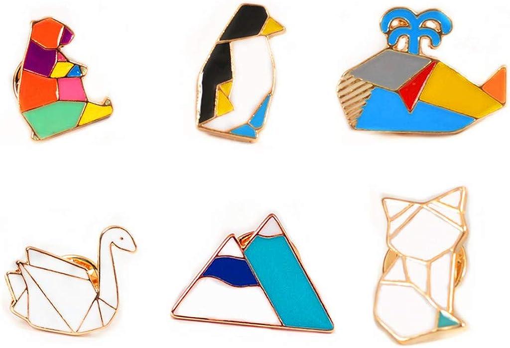 GYAYU Cute Cartoon Brooch Pins Enamel Brooches Lapel Pins Badge for Women Girls Children for Clothing Bag Decor (Geometric Animal)
