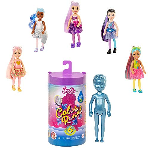 Barbie GTT23 - Barbie Chelsea Color Reveal Puppe, Glitzer Serie, mit Enthüllungseffekt mit 1 Überraschungspuppe und 6 weiteren Überraschungen, Spielzeug ab 3 Jahren