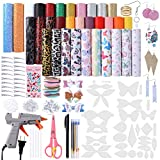 Leather Bow Earring Making Kit Include 6 Kinds Faux Leather Sheets Hair Clips Scissor Bow and Earring Template Hot Melt Glue Gun with Glue Stick Hair Ties Earring Backs and Hooks Diamond Stickers