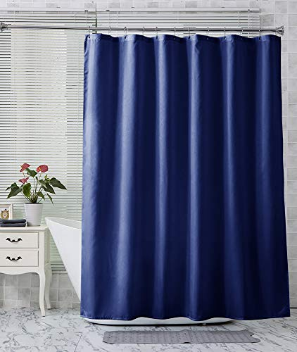 Amazer Fabric Shower Curtain Liner, Navy Blue Polyester Fabric Shower Curtain Liners Bathroom Shower Curtains, Water Proof, Hotel Quality, 72 x 72 Inches