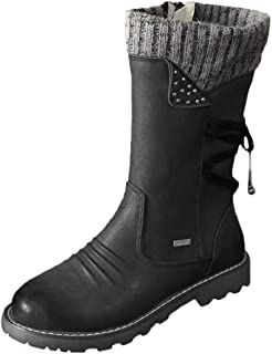 〓COOlCCI〓Women Winter Boots Leather Warm Padded Knitted Lining Snow Boot Riding Combat Style lace up Ankle Bootie Mid Calf