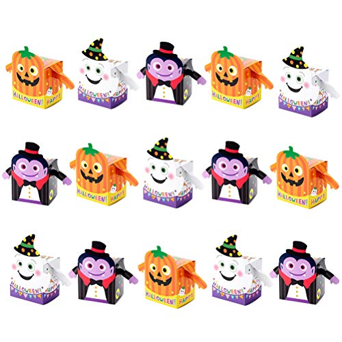 TOYMYTOY 15 Pack Halloween Candy Boxes,Ghost Pumpkin Designed Paper Treat Boxes for Halloween Party Supplies