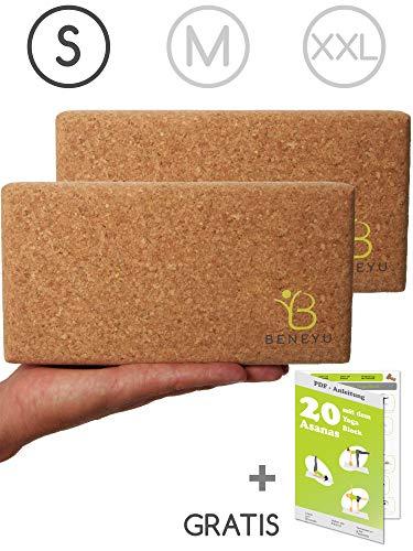 beneyu Bloque Yoga Corcho - Made in EU | Bloque de Yoga Inodoro y Lavable Hecho de Corcho Natural Agradable y Robusto para Yoga & Pilates | +PDF