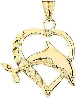 Elegant 14k Gold Dolphin Heart-Shaped Love Pendant