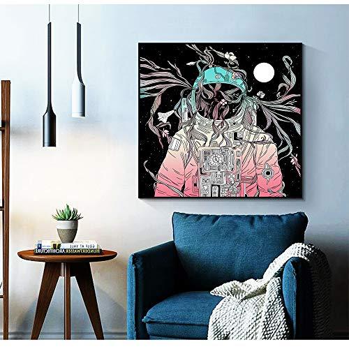 ganlanshu Astronauta Espacio sueño Nave Espacial Pintura al óleo Lienzo Fondo Sala Cartel decoración del hogar,Pintura sin marco-40X40cm