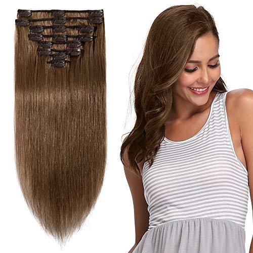 Extension Vrai Cheveux Naturel Longue a Clip - Remy Hair - 8 Mèches - Epaisseur Moyenne (#6 NOISETTE, 60cm-120g)
