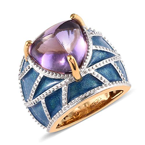 TJC Dome 14ct Gold Plated 925 Sterling Silver Ring for Women Amethyst Blue Sapphire Size N, 6.03 Ct