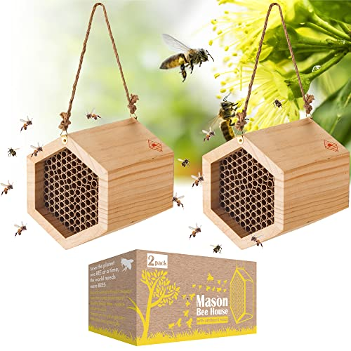Mason Bee House 2 Pack, Outdoor Wooden Bee Houses with Cardboard Nesting Tubes, Wood Bee Hives for...