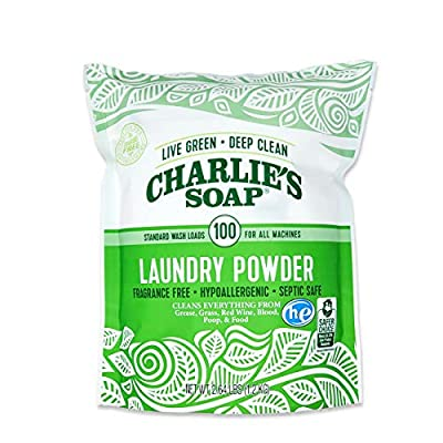 Charlie's Soap Laundry Powder (100 Loads, 1 Pack) Hypoallergenic Deep Cleaning Washing Powder Detergent – Eco-Friendly, Safe, and Effective