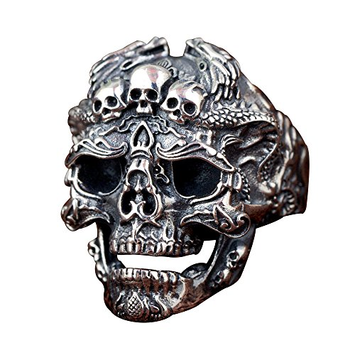 Gothic Black 925 Sterling Silver Skull Head Open Ring with Dragons for Men Boys Women Girls Adjustable Size 8.5-11