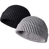 JFAN Beanie Hat Swag Miki Hat Casquette de Baseball Bonnet de Trawler Watch Cap Chapeau de Crâne à Revers Bonnet Noir+Gris