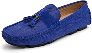 QinMei Zhou Driving Loafers for Men Boat Moccasins Slip On Faux Suede Breathable Round Toe Shoes Flat Anti Slip (Color : Blue, Size : 7.5 UK)