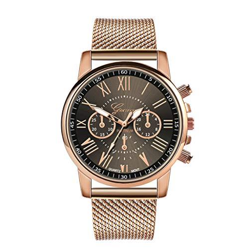 XshuaiRTE Unisex Retro Quarz Armbanduhr,Xshuai Armbanduhren FüR Damen Herren Uhren Jungen Herrenuhren Quarz Armbanduhr-Leder UhrenarmbäNdermesh Armbanduhr Armbanduhr Analog Quarz FüR Frauen (Black)