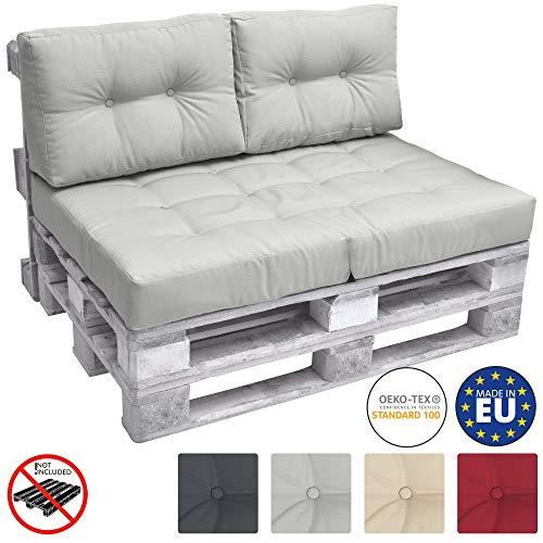 Beautissu ECO Elements Lot de 2 Coussins pour Dossier pour Canape Euro Palette - 60x40x10-20cm - Gris Clair
