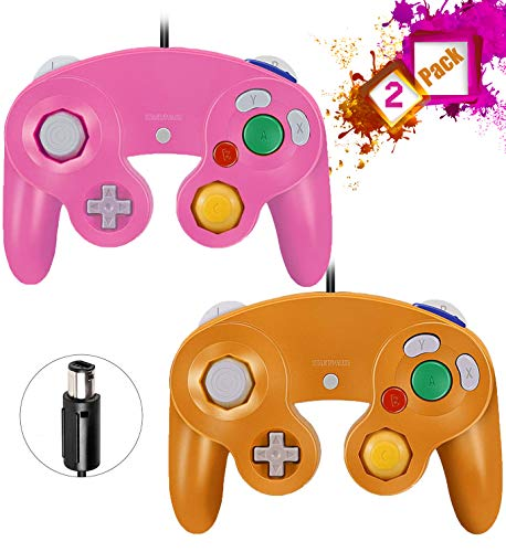 Gamecube Controllers,GALGO Classic Gamecube wii Controller for Nintendo Gamecube Console, Compatible with Wii (Pink & Orange)
