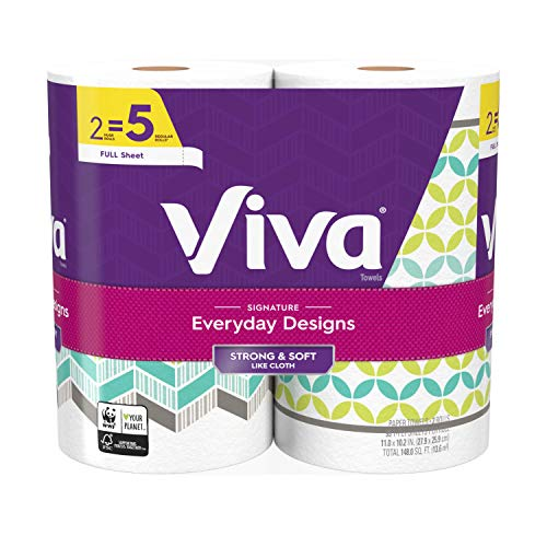Viva Signature Everyday Designs Full Sheet Paper Towels, Printed Paper Towels, 2 Count, Pack of 8 (Packaging May Vary)