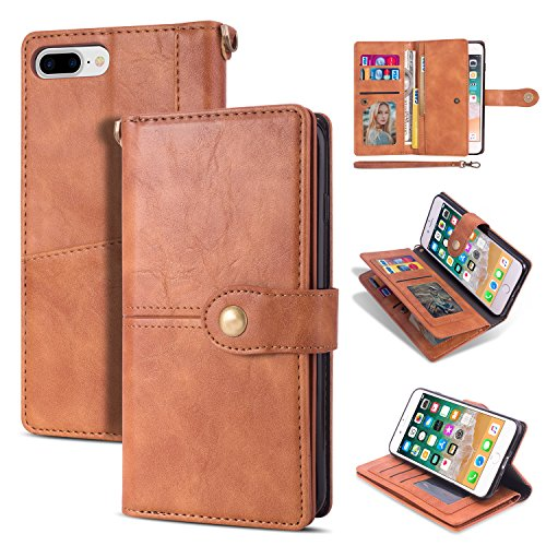 EYZUTAK Leather Case for iPhone 6 Plus iPhone 6S Plus,Retro Vintage Snap Button Card Slots Ultra Slim Folio Wallet Flip Stand Protective Card Holder Case for iPhone 6 Plus/6S Plus - Brown