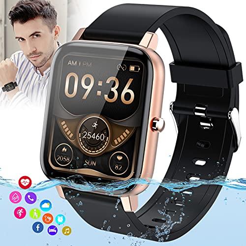 Burxoe Smartwatch, Reloj Inteligente Mujer Hombre Impermeable con Pulsómetro Presión Arterial Monitor de Sueño, Smart Watch Pulsera Actividad Relojes Deportivos con Podómetro Caloría para Android