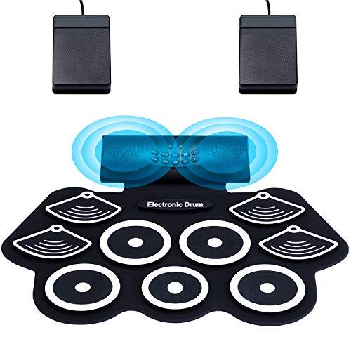 Asmuse Portable Electric Drum Set 9 Pads Eingebaute tragbare Übungspads mit zwei Lautsprechern, Kopfhöreranschluss und Pedalen mit Bluetooth-Funktion