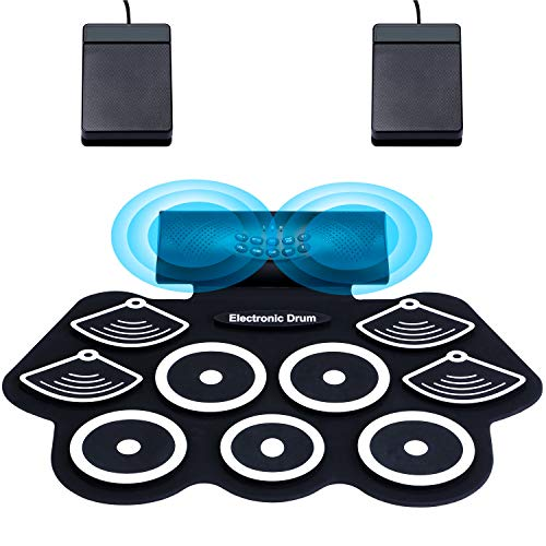 Asmuse Portable Electric Drum Set 9 Pads Built-in Dual Speaker Portable Practice Pads with Bluetooth...