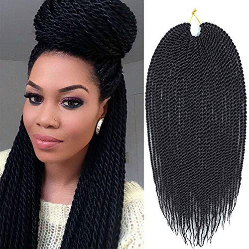 6 Packs 16 Inch Senegalese Twist Crochet Hair Braids Small Havana Mambo Twist Crochet Synthetic Braiding Hair Extension (16inch, 1B)
