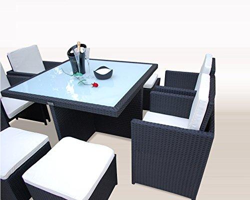 Ragnarök-Möbeldesign PolyRattan - DEUTSCHE Marke - EIGNENE Produktion - 8 Jahre GARANTIE auf UV-Beständigkeit Gartenmöbel Essgruppe Tisch + 4 Stühle & 4 Hocker 12 Polster Schwarz - 2