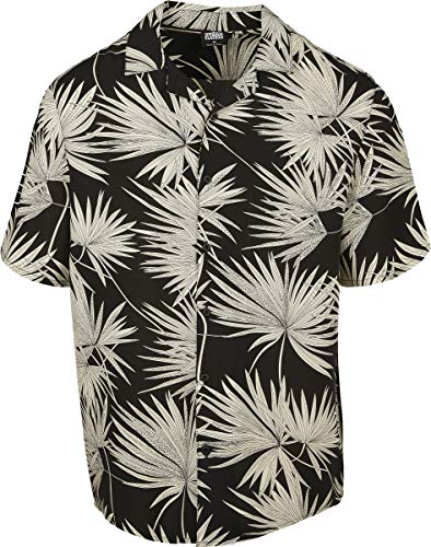 Urban Classics Herren Resort Hawaii-Hemd T-Shirt, Black/Frond, 5XL