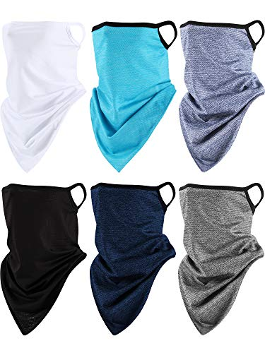 6 Pieces Summer Face Cover Ear Loops Triangle Face Cover Scarf Bandana UV Protection Neck Gaiter Scarf (Black, Dark Blue, Lake Blue, Grey, Grayish Blue and White)