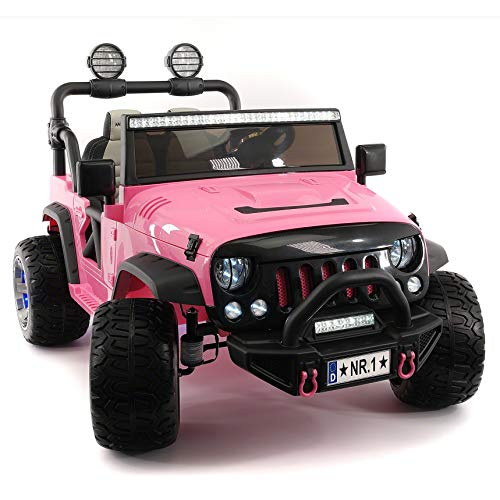 Moderno Kids Explorer 2 (Two) Seater 12V Power Children Ride-On Car Truck with R/C Parental Remote + EVA Rubber LED Wheels + Leather Seat + MP3 Music Player Bluetooth FM Radio + LED Lights (Pink)
