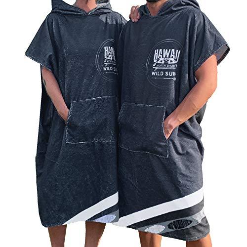 Homelevel Damen und Herren Surfponcho Strandponcho Poncho Frauen Männer Badeponcho Strandtuch Handtuch Cape Baumwollmischung Velours Frottee Badetuch mit Kapuze Anthrazit