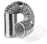 Tubo Flessibile Alluminio da 120 mm 6 m Tubo di Scarico per Ventilazione, Condizionatore, Asciugatrice e Cappa Aspirante