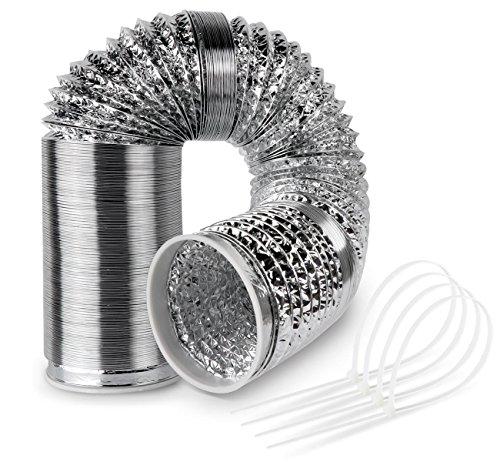 Abluftschlauch Aluminiumfolie flexibel für Abzugshaube Klimaanlage Trockner Dunstabzug 125mm 6 m mit 4 Stück Kabelbinder