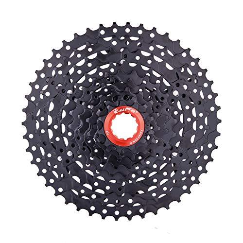 Lijincheng Ruedas Libres Bicicleta de montaña 9 Velocidad 11-46T Cassette Negro MTB Swer Ratio 9V Freewheel K7 Sprockets Compatible con Shimano M430 M4000 M590 (Color : 9s46t Black Hanger)