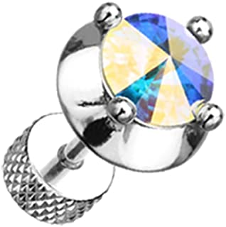 Spacer Saucer Crystal Steel Freedom Fashion Fake Plug (Sold by Pair)