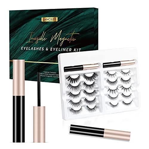 Lanciley Kit Cils Magnétiques Invisibles et Eyeliner, 10 Paires de Cils Magnétiques avec 2 Eyeliners Liquides, Faux Cils Imperméables Ultra Léger Facile à Utiliser, 3D Look Naturel et Réutilisable