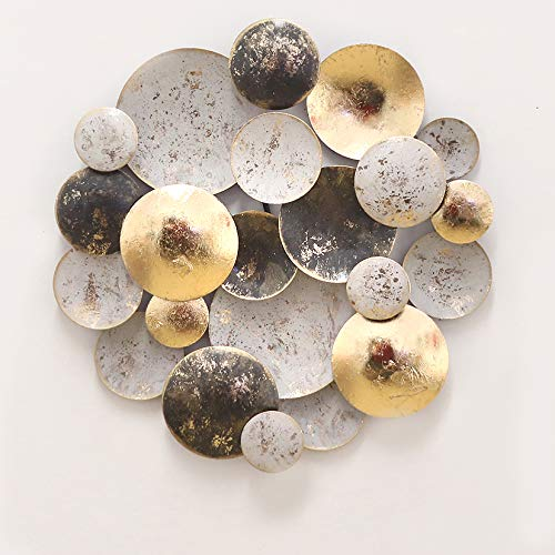 Wanddeko Metall | 3D Wandornament Kreise | Wandskulptur in goldfarben schwarz grau | Perfekte Deko für Wohnzimmer Schlafzimmer Büro