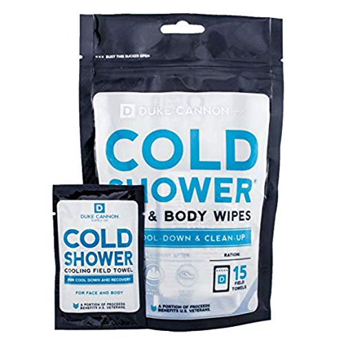 Duke Cannon Supply Co. Cold Shower Cooling Field Towel and Body Wipes, Pack of 15 - Individually Wrapped Cooling Towelettes for Face, Hands and Body