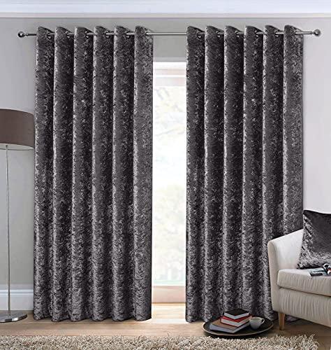 AUSUMM Par de cortinas de terciopelo arrugado con ojales en la parte superior, color gris carbón, 66 pulgadas de ancho x 72 pulgadas de caída