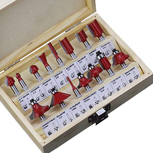 15Pcs Router Bit Set 1/4' 6.35mm Tungsten Carbide Tongue and Groove Router Bit Set , for Doors,Tables,Shelves,DIY Wood Cutter Engraving Cutting Tools