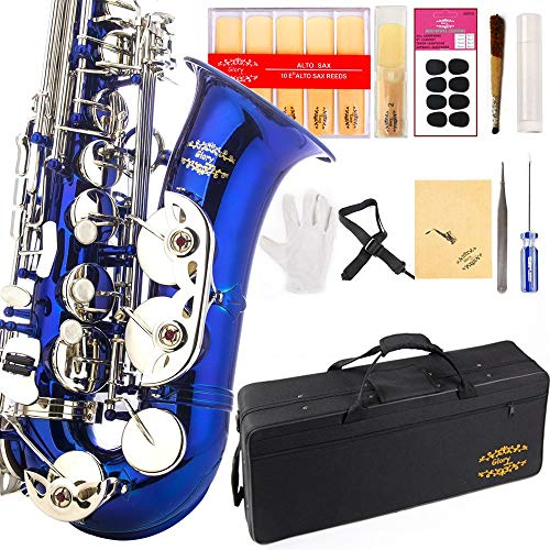 Glory Blue/Silver keys E Flat Alto Saxophone with 11reeds,8 Pads cushions,case,carekit-More Colors with Silver or Gold keys Delaware