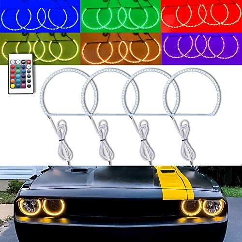4PCS RGB Multi-color LED Angel Eye Light Halo Ring Demon KIT Headlight For Dodge Challenger 2008-2014 w/Wireless Remote Control