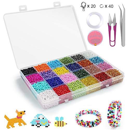 Conjunto de Cuentas de Colores,Abalorios para Hacer Pulseras,24 Colores de Vidrio Perlas de Potro Mini Cuentas para Hacer Joyas Collares Pulseras Pendiente Bisutería Regalo DIY