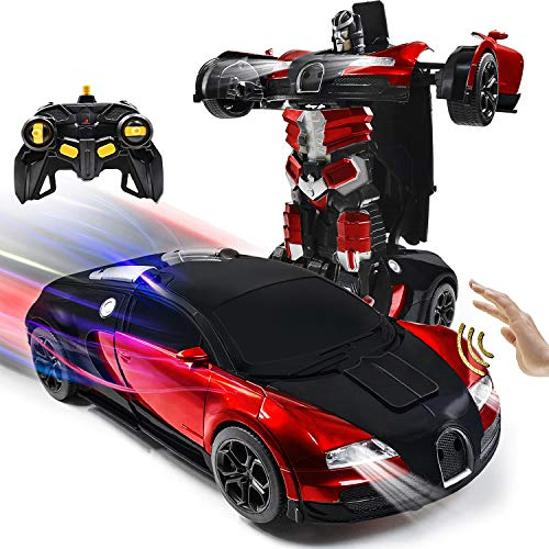 VillaCool 1:14 Scale Remote Control Toys Car Transformrobot Gesture Sensing RC Cars Robot for Kids, 360°Rotating Drifting Deformation Sports car, Children's New Year's Christmas Favorite Gift(Red)