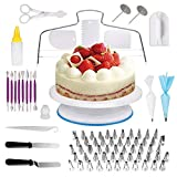 Cake Decorating Supplies,129 PCS Cake Decorating Tips for Beginners,Baking Decorating Supplies Set With Rotating Turntable Stand,Icing Piping Tips & Pastry Bags,Icing Spatula & Smoother
