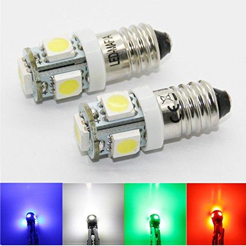 LED-Mafia® 2X E10 Drehsockel EY 10 Schraubsockel 6 Volt - LED SMD E10 6V (weiß)